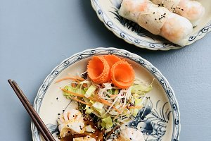 Dim sum dumplings and summer rice paper rolls