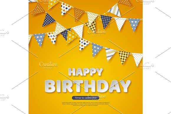 Happy Birthday Greeting Design Paper Cut Style White Letters And Bunting Flags With Different Colorful Patterns Yellow Background Vector Illustration