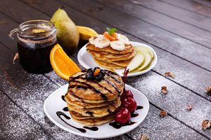 Tasty breakfast. Delicious pancakes