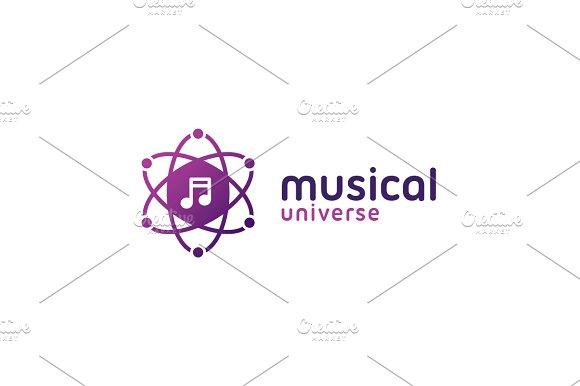 Music Note Atomic Shape Logo