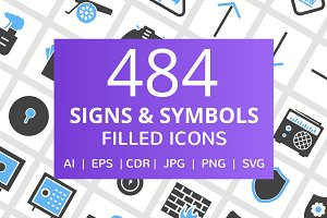 484 Signs & Symbols Filled Icons