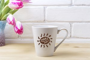 White latte mug mockup with magenta