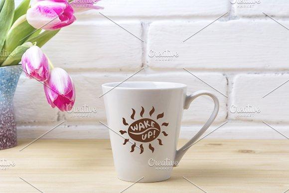 White Latte Mug Mockup With Magenta