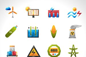 Green energy polygonal icons