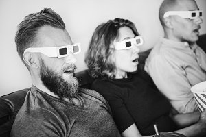 Group of friends watching a 3d movie
