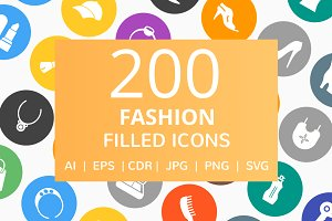 200 Fashion Filled Round Icons