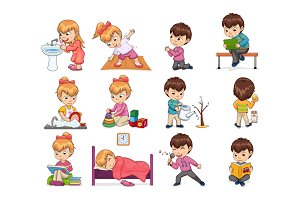 Girl and Boy Collection Set Vector Illustration