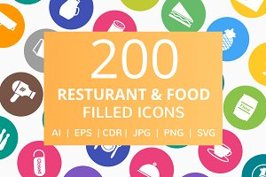 200 Restaurant & Food Filled Icons