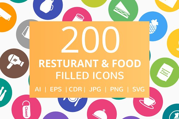 200 Restaurant Food Filled Icons
