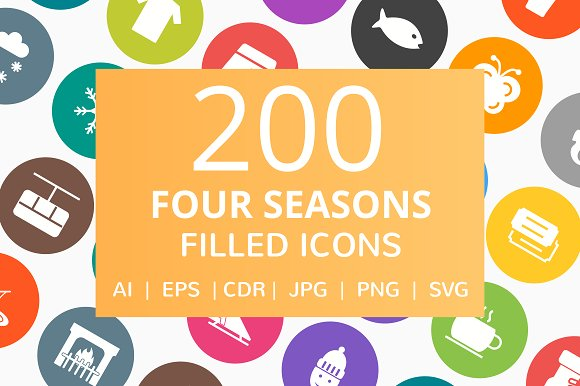 200 Four Seasons Filled Round Icons