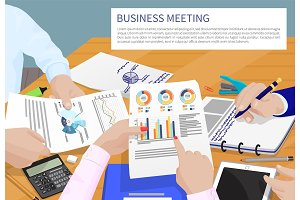 Business Meeting and Text Vector Illustration