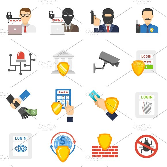 Internet Banking System Safety Icons