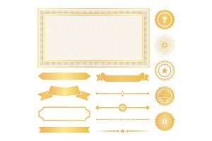 Decorative Frames, Gold Water Marks and Ribbons