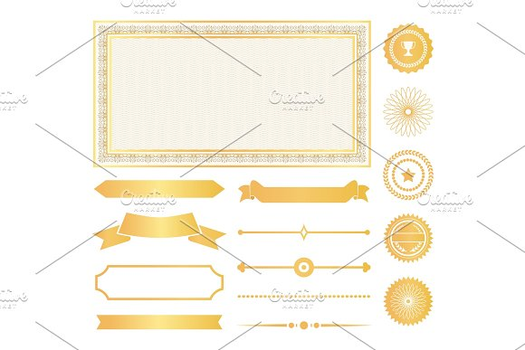 Decorative Frames Gold Water Marks And Ribbons