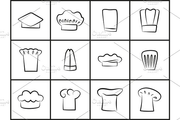 Chef Hats Of All Shapes Thin Outline Illustrations