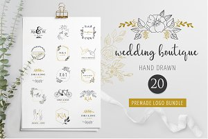 Wedding logo boutique, premade logo