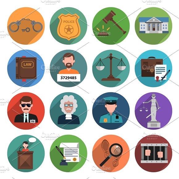 Law Icon Flat Set