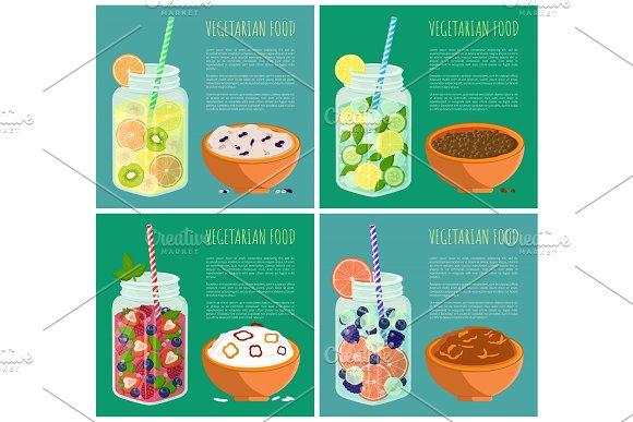 Vegetarian Food Posters Set Detox Diet Concept