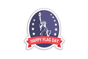 Happy Flag Day Sticker Title Vector Illustration