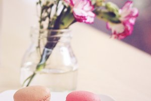sweet macaron and flower