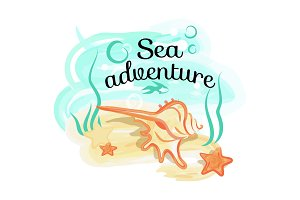 Sea Adventure Poster with Shell Lies in Deep Ocean