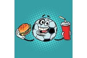 Break the match. Fast food Cola and Burger. Football soccer ball