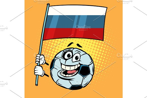 Russia 2018 World Cup Country Flag Football Soccer Ball Funny