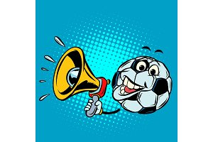 Fan with megaphone. Football soccer ball. Funny character