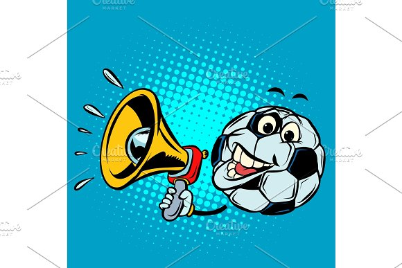 Fan With Megaphone Football Soccer Ball Funny Character