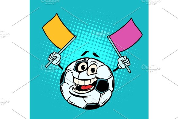 Fan With Flags Football Soccer Ball Funny Character