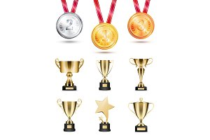 Medals for Competition, Golden Cups and Awards Set