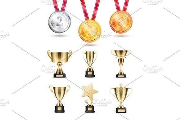Medals For Competition Golden Cups And Awards Set