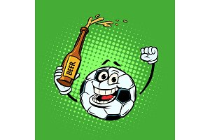 Fans with a bottle of beer. Football soccer ball. Funny characte