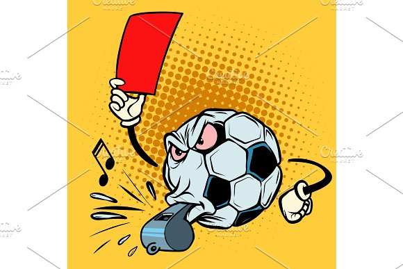 Red Card Referee Whistle Football Soccer Ball Funny Character