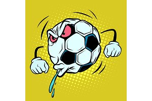 Spitting, fan reaction. Football soccer ball. Funny character