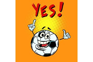 Yes happy fan. Football soccer ball. Funny character