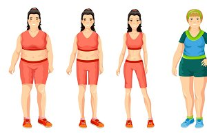 Cartoon Women Weight Loss Concept