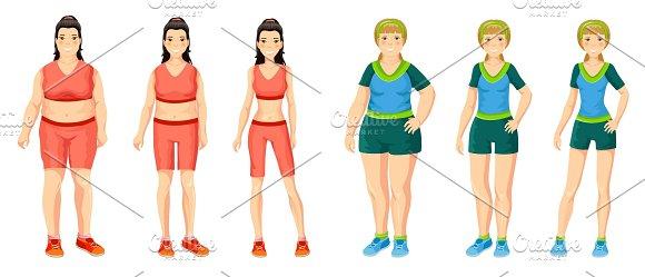 Cartoon Women Weight Loss Concept