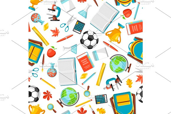 School Seamless Pattern With Education Items