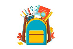 School backpack with education items.