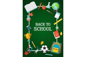 Back to school background with education items.