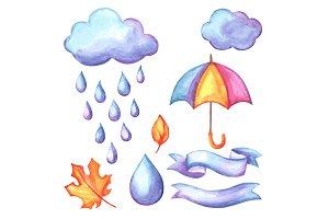 Set of aquarelle umbrella, clouds and rain.