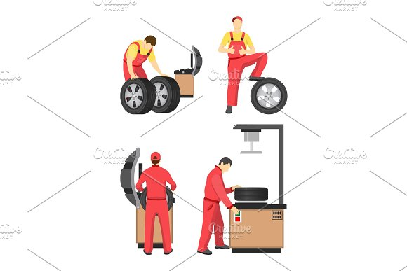 Wheel Service Colorful Banner Vector Illustration