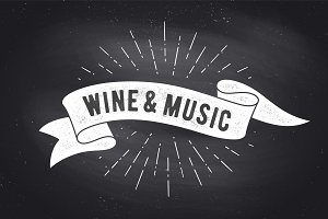 Wine, Music. Vintage ribbon banner