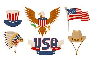 USA Items Objects Collection Vector Illustration