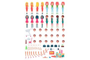 Shopaholic Girls Animated Character Constructor
