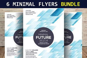 6 Minimal Party Flyers Bundle
