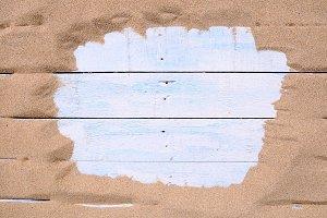 Sand on beach.