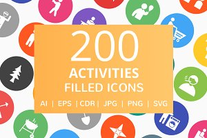 200 Activities Filled Round Icons