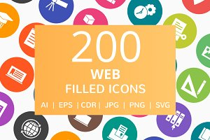 200 Web Filled Round Icons